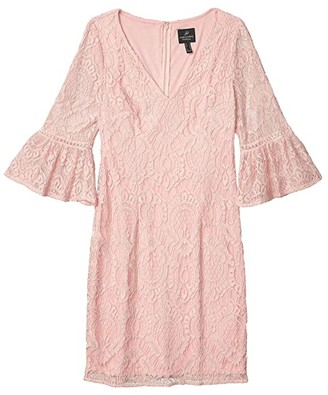 Adrianna Papell Milan Lace Sheath Dress (Pink Conch) Women's Dress