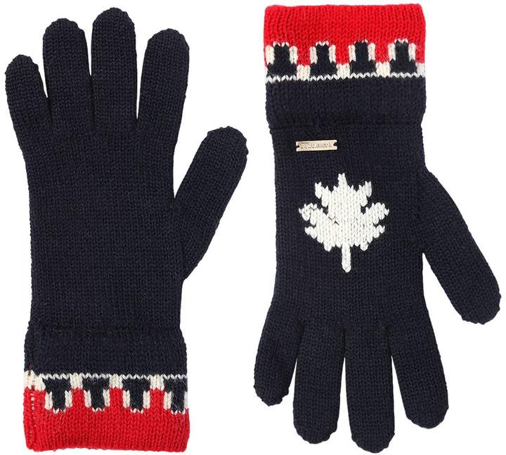 DSQUARED2 Wool & Alpaca Blend Knit Gloves