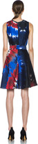 Rodarte Printed Tie Dye Raw Silk Belted Dress in Red & Blue & Black