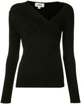 L'Agence asymmetric V-neck top - women - Spandex/Elastane/Rayon - XS