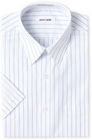 Pierre Cardin White & Blue Striped Short Sleeve Dress Shirt