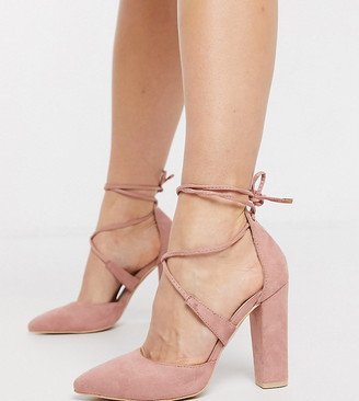 Glamorous Wide Fit cross strap block heeled shoe in blush pink