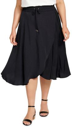 Forever New Curve Clara Elastic Waist Curve Wrap Skirt