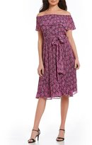 MICHAEL Michael Kors Large Jewel Print Pleated Chiffon Off-The-Shoulder Dress