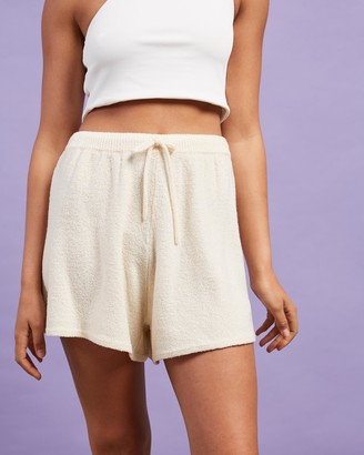 Nude Lucy Women's White High-Waisted - Coops Knitted Shorts - Size XS at The Iconic