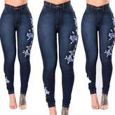 USGreatgorgeous Women Floral Print Rose Embroidered High Waist Ripped Denim Skinny Denim Jeans