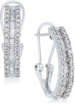 Macy's Diamond Three-Row Hoop Earrings (1 ct. t.w.) in 10k White Gold
