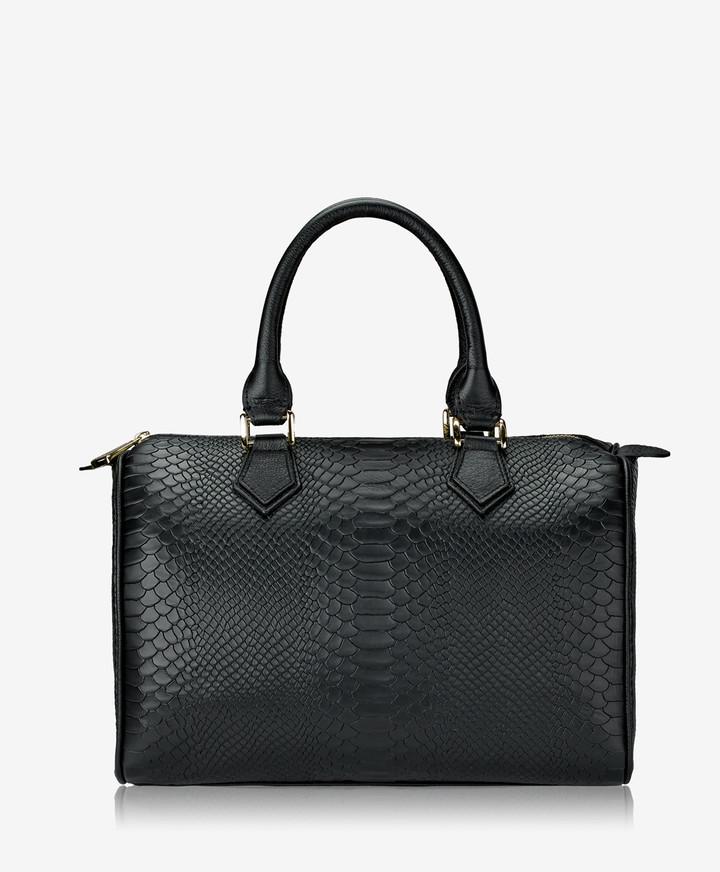 GiGi New York Brooke Barrel Bag, Black Embossed Python