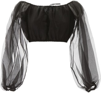 STAUD Leilani Organza Balloon Sleeves Cropped Top