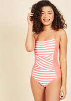 ModCloth Down for a Dive One-Piece Swimsuit in Pink in S