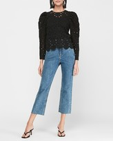 Express Crochet Lace Puff Sleeve Blouse