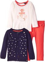 Nautica Baby-Girls Newborn Foil Cardigan Long Sleeve Graphic Tee and Pant