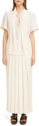 Chloé Tie Neck Pleated Maxi Dress
