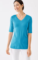 J. Jill Perfect Pima V-Neck Elbow-Sleeve Tee
