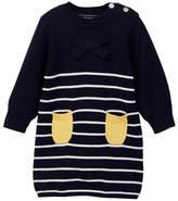 Toobydoo Striped Bottom Pocket Sweater Dress (Baby & Toddler Girls)
