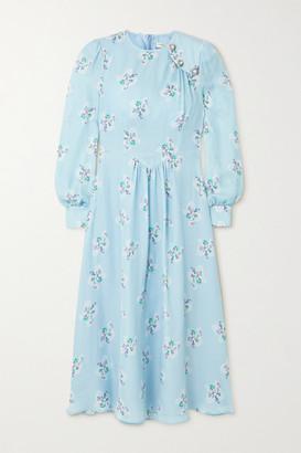 Alessandra Rich Button-embellished Floral-print Silk Crepe De Chine Midi Dress - Light blue