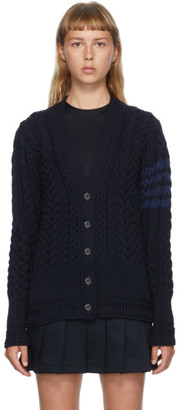 Thom Browne Navy Wool Aran Knit 4-Bar Cardigan