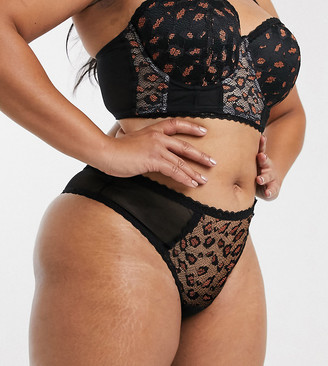 Simply Be lace Brazilian brief in black animal