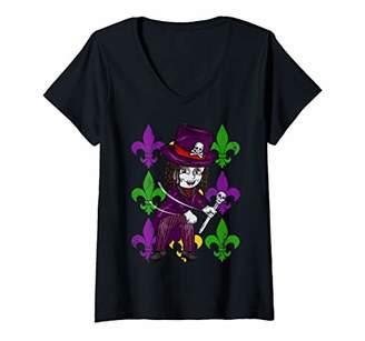 Womens Womens Girls Mardi Gras Flossing Voodoo Queen Fleur De Lis V-Neck T-Shirt