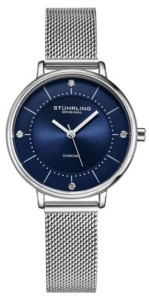 Stuhrling Original Women's Silver Tone Mesh Stainless Steel Bracelet Watch 34mm