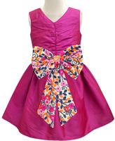 Fuchsia Garden Bow-Accent A-Line Dress - Infant, Toddler & Girls