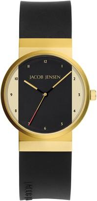 Jacob Jensen Womens Analogue Classic Quartz Watch with Rubber Strap JJ744