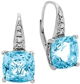 John Hardy Sterling Silver Batu Classic Chain Drop Earrings with Blue Topaz and Diamonds