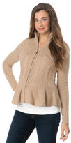 A Pea in the Pod Autumn Cashmere Long Sleeve Zip Front Maternity Sweater