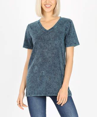 Zenana Women's Tee Shirts DEEP - Deep Aqua Mineral Wash V-Neck Tee - Women & Plus