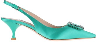 Miu Miu Embellished Pointed Toe Slingback Pumps