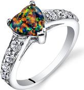 Ice 1 CT TW Lab-Created Black Opal Sterling Silver Fashion Ring with CZ Accents