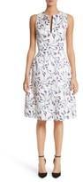 Carolina Herrera Women's Floral Split Neck Fit & Flare Dress