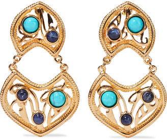 Ben-Amun 24-karat Gold-plated, Turquoise And Stone Clip Earrings
