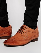 Asos Longwing Brogue Shoes in Tan Leather