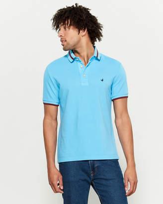 Brooksfield Striped Collar Short Sleeve Polo