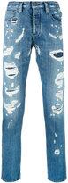 Emporio Armani denim distressed straight jeans