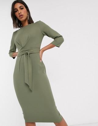 ASOS DESIGN tie wrap around midi dress in khaki