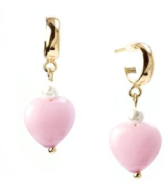 I'mmany London Pink Sugar Chibi Jade Heart Drop Hoop Earrings - Pink