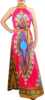 RAISEVERN Teen Girls African Print Dress Vintage Sleeveless Halter Neck Long Dresses