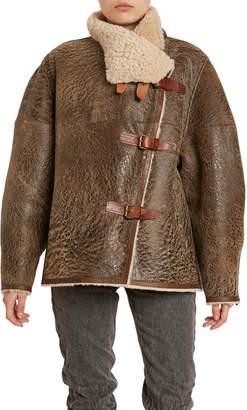 Isabel Marant Abelina Distressed Leather Shearling-Lined Coat