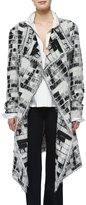 Donna Karan Skylights Jacquard Fringe Topper Coat
