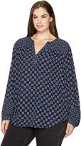 NYDJ Women's Plus-Size Printed Peasant Top