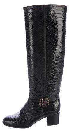 Chanel Glazed Python Gripoix Boots
