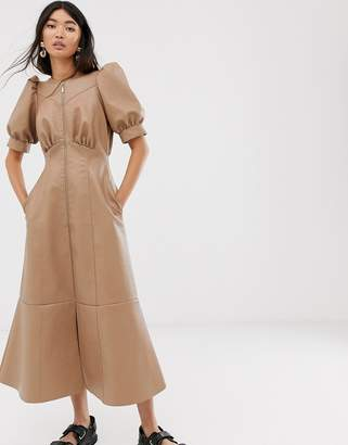 Asos Design DESIGN leather look puff sleeve zip through midi dress-Beige