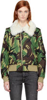 Rag & Bone Green Fur Camo Flight Jacket