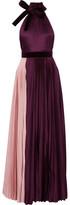 Roksanda Wykeham Velvet-trimmed Plissé Silk-blend Satin Gown - Burgundy