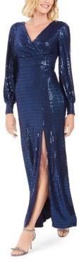 Night Way Nightway Sequin Wrap Gown