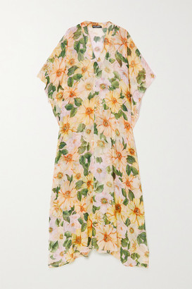 Dolce & Gabbana Floral-print Silk-chiffon Kaftan - Yellow