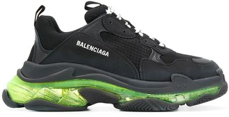 Balenciaga Triple S Clear Sole Multi-panel Sneakers Black/ Yellow