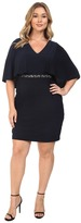 Adrianna Papell Plus Size Wide Band Matte Jersey Capelet Sheath Dress